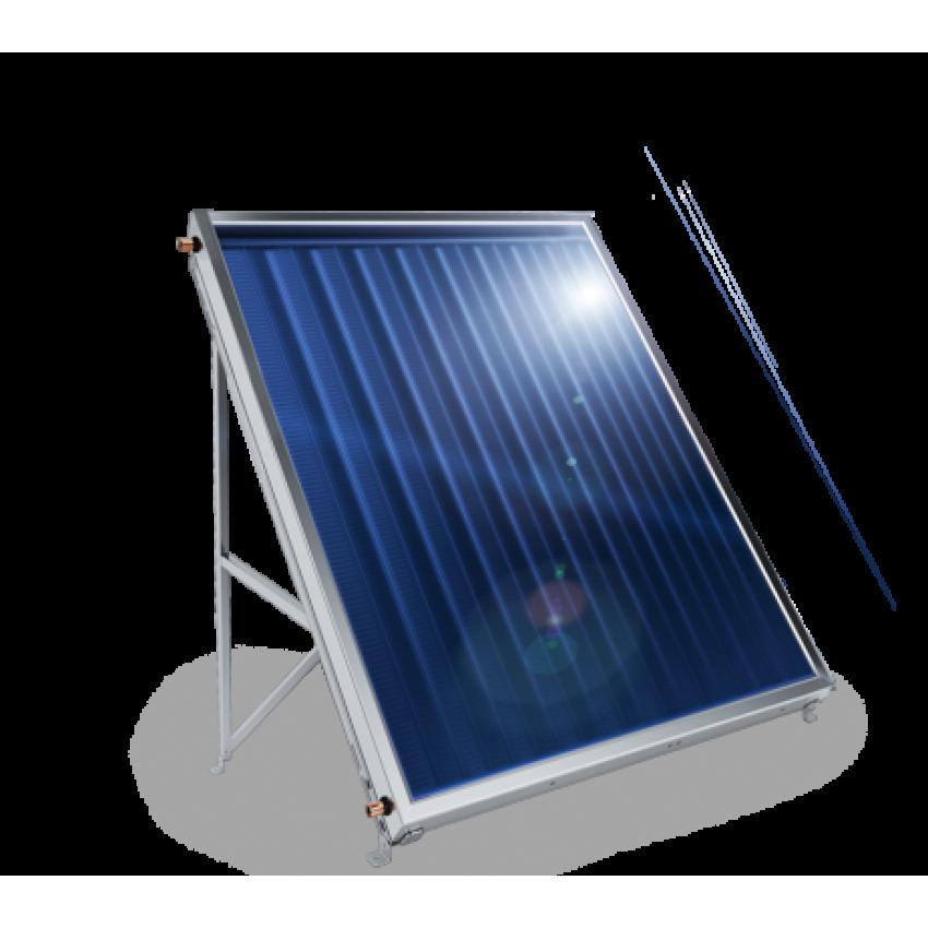 Плосък слънчев колектор с алуминиев оребрен абсорбер